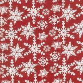 Holiday Homestead - Snowflake Red Yardage