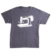 Man Sewing Heathered Navy Sewing Machine T-Shirt - Large