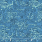 Plumage - Words Allover Blue Yardage