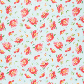 Pink Garden - Floral Toss Teal Yardage