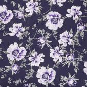 Violet Twilight - Twilight Floral Pearlized Yardage
