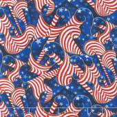 Patriots - American Flags Metallic Yardage