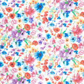 Day Dreaming - Rainbow Dream Florals White Digitally Printed Yardage