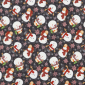 Timber Gnomies - Tossed Snowmen Black Yardage