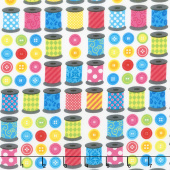 Sew Excited - Spools of Fun White Yardage