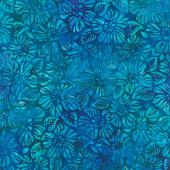 Artisan Batiks - Garden Style Flowers Lagoon Yardage