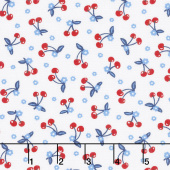 Patriotic Parade - Mini Cherries White Yardage