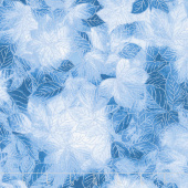 Pearl Frost - Frost Leaves Dark Blue Pearlescent Yardage