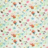 Bloom Bloom Butterfly - Hummingbird Flight Seafoam Yardage