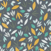 Wild About You - Leaves Charcoal Yardage