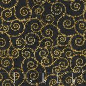 Winter's Grandeur 7 - Holiday Swirls Black Metallic Yardage