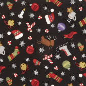 Most Wonderful Time Flannel - Tossed Winter Motifs Black Yardage
