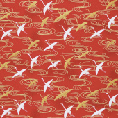Imperial Collection 16 - Cranes Red Metallic Yardage
