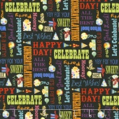Let's Celebrate - Celebration Words Black Yardage
