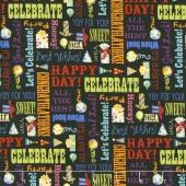 Let's Celebrate - Celebration Words Black Yardage