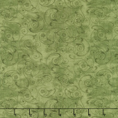 Scarlet Dance - Scroll Green Yardage