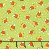 Broomhilda's Bakery - Candy Corn Dots Lime Yardage