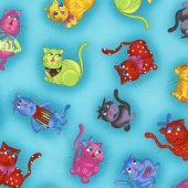 Cats - Cool Cats Tossed Turquoise Yardage