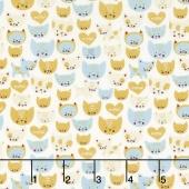 Woof Woof Meow - Here Kitty Kitty Aqua Cream Yardage