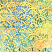 Peacock Galore Batiks - Clamshell Baja Bright Yardage