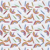 I Dream in Color - Crayons and Rainbows Blue Yardage