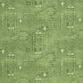 Country Road Market - Vintage Words Green Yardage