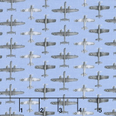 Air Show - Small Planes Allover Blue Yardage