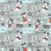 Mickey Mouse - Oh Boy! Grey Yardage