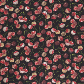 Chocolicious - Chocolate Cherries Black Digitally Printed Yardage