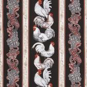 French Country - Paisley French Chicken Stripe Black Yardage