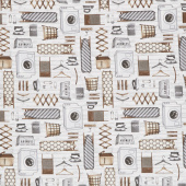 Loads of Fun - Laundry Icons Gray Taupe Yardage