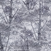 The Forever Collection - Snowy Branches Pewter Yardage