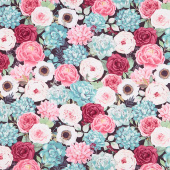 Botanical Oasis - Packed Flowers Black Yardage