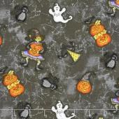 Halloweenie - Tossed Halloweenies Dark Gray Yardage