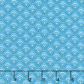 Regency - Elegant Scalloped Pattern Aqua Metallic Yardage