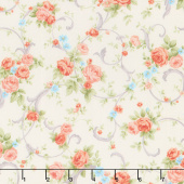 Cassandra - Swirling Flowers Cream Yardage
