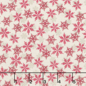 Scandi 5 - Snowflakes Cream Red Yardage