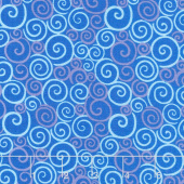 Catmosphere - Swirls Blue Yardage