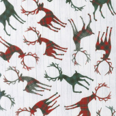Christmas Cabin - Tossed Deer Silhouettes White Yardage