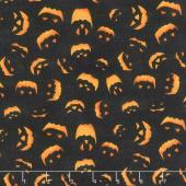 Haunted Night - Spooky Faces Black Yardage