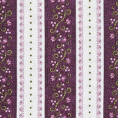 Amour - Running Stripe Deep Plum Yardage