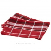 Tea Towel - Windowpane Border Red