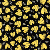 Save the Bees - Bee Hives and Bees Black Yardage