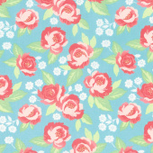 Bloomington - Faded Blooms Teal Yardage