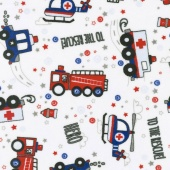 "Cuddle Prints - To The Rescue! Scarlet 60"" Minky Yardage"