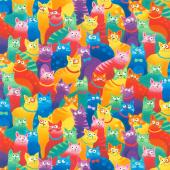 Cats - Bright Rainbow Cats Multi Yardage