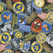 Protect & Serve - Police Badges Black Yardage