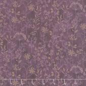 Plant Kindness - Stitched Flower Stripe Purple Yardage