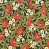 Poinsettias and Pine Metallic - Poinsettias and Holly Ebony Yardage