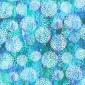 Floragraphix V - Chrysanthemum Blue Yardage